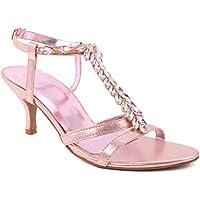 "6023b8e16 Unze Women ""Cady"" T Design Formal Platform Crystal Encrusted Buckle Ankle  Strap Evening Mid"