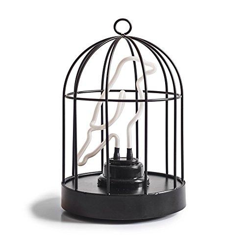SUCK UK Birdcage Lamp Vogelkäfiglampe, Metall, Schwarz-Weiss, 25.5 x 16 x 16 cm