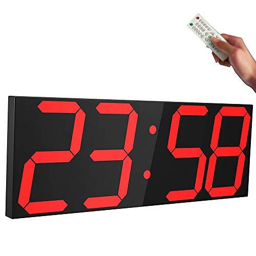 CHUDAN GroßE Digital LED Uhr Elektronik Wanduhr mit Countdown-Funktion, Automatische Helligkeitsanpassung, Thermometer, Kalender, Snooze, Fernbedienung und Stoppuhr Timer für Büro, Schlafzimmer,Red