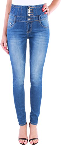 Damen High Waist Stretch Jeans Hose Röhre Hochschnitt Damenhose Corsage ★C35 (42/XL, Blau 4) (Denim Skinny Jeans Black)