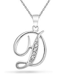 Bling Jewelry CZ Cursive Alfabeto letra D chapados en rodio Colgante Collar de 16 pulgadas