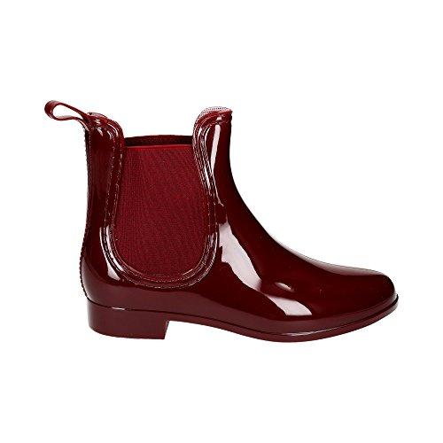 Damen Chelsea Schlupf Stretch-Einsatz Regen Boots Gummi Glitzer Stiefeletten Lack Stiefel Freizeit Schuhe Wein