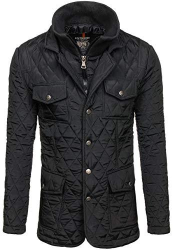 BOLF Herren Jacke mit Reißverschluss und Knopfleiste Extreme 101 Schwarz M [4D4]