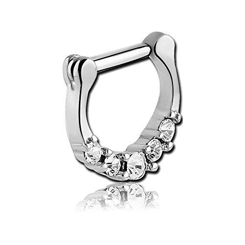 Chirurgenstahl Klapp Septum Clicker Ring - Crystal 1.6 x 6mm