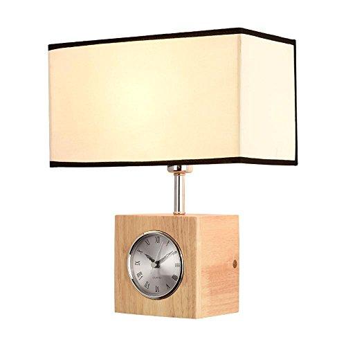 Seeksung Led Wandleuchte Wandleuchte, Massivholz Metalltuch Design Mute Clock Leuchte E27, Kreativ Schlafzimmer Nachttisch Wohnzimmer Wandleuchte, Durchmesser 6,69 In * Hoch 12,99 In [Energieklasse A +] , B