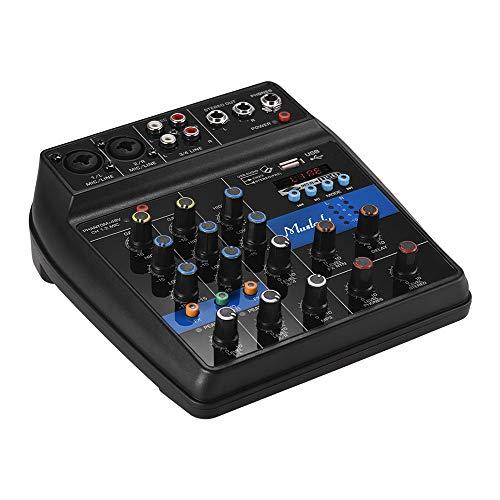 Muslady S-1 Mischpult Tragbar 4-Kanal BT Digital Audio Mixer Eingebaut Reverb-Effekte + 48V Phantomspeisung 2-Band EQ DC 5 12 V Netzteil zum Aufnahme von DJ Network Live Broadcast Karaoke (Dj-audio-recorder)