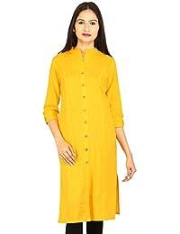 Etone Women's Straight Cotton Slub Front Slit Kurti (K051Y_XL, Yellow, X-Large)