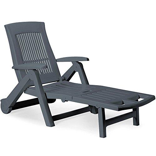 Deuba Sonnenliege Zircone ✓ inkl. Rollen ✓ verstellbare Rückenlehne ✓ klappbar ✓ Kunststoff - Gartenliege Rollliege Liegestuhl - Farbauswahl - anthrazit - 2