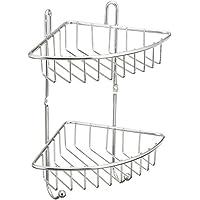 WENKO 16820100 Estantería rinconera de baño Milano 2 repisas - 2 ganchos, 2 pisos, cromo, Acero, 22.5 x 30 x 16.5 cm, Cromo