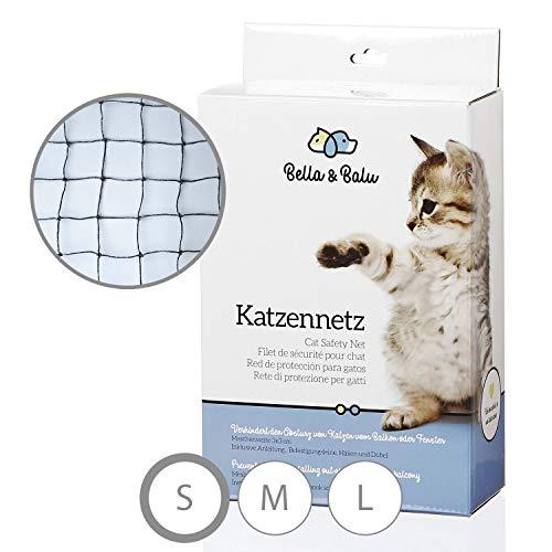 Bella & Balu Katzennetz drahtverstärkt inkl. Haken, Dübel, Rundumseil und Anleitung - Drahtverstärktes Schutznetz für Katzen zur Absicherung von Balkon, Terrasse und Fenster (schwarz | 4 x 3 m)
