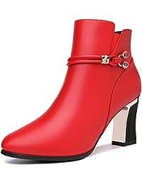 HBDLH Zapatos de Mujer/Botas De Tacon Alto 7 5 Cm De Martin Las Ingles Botas Botas Cortas El Otoño Y El Invierno Rough…