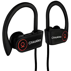 Chkokko Mercury M2 IPX5 Waterproof Wireless Bluetooth Earphones with Silicon Hooks and Mic (Black)