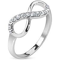 Paula & Fritz anello in acciaio inox larghezza 75mm infinito strass argento linea anello dimensioni: 47(15)–60(19)