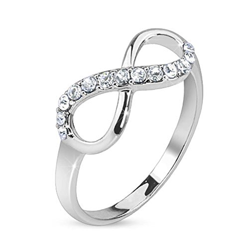 beyoutifulthings Glitzer UNENDLICHKEITS-SCHLEIFE Zirkonia Band-Ring Chirurgenstahl 316L Partner-Ring Trau-Ring Gold Silber - Breites Band-ringe Silber