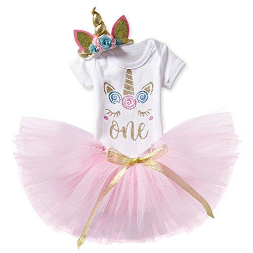 NNJXD Mädchen Einhorn Blume Regenbogen Tutu 1. Geburtstag 3 Stück Outfits Strampler +Rock+ Gold Stirnband Größe (1) 1 Jahre Rosa