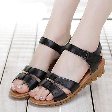 RUGAI-UE Donne sandali PU Scarpe Casual Comfort Zeppa,Black,US5 / EU35 / UK3 / CN34 Black