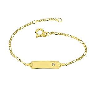 Baby ID-Armband 585 Gold Figaroarmband 14 cm Schmuck mit Zirkoniastein in Sternfassung *inkl. Gravur* Made in Germany 5.53042.70