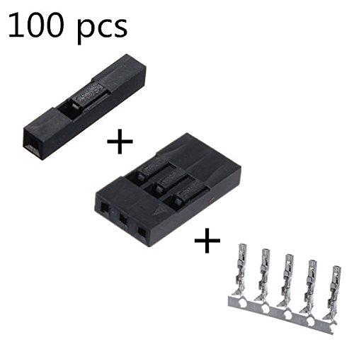 Preisvergleich Produktbild 100 PCS 1P + 3P Dupont Jumper Wire Gehäuse + Female Pin-Steckverbinder 2,54 mm Interval
