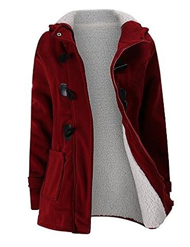 Femme Manteaux Capuche Manches Longues Gilet Bouton Épais Blouson Casual Paletot Hoodie Printemps et Hiver Veste Chaude Outwear Manteaux Gabardine YOSICIL