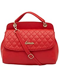 ESBEDA Red Checked Pu Synthetic Material Handbag For Women