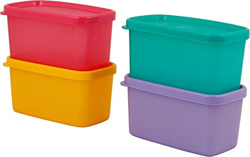 Tupperware Cool Square Half - each 4 pic set (Yellow, Pink, Green, Violet) - 200 ml Plastic Multi-purpose Storage Container (Pack of 4, Multicolor)  available at amazon for Rs.635