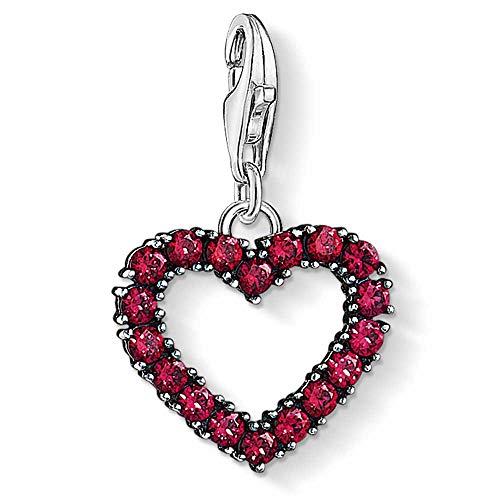 Thomas Sabo Mujer Colgante Charm Corazón con piedras rosas Plata de ley 925 1476-639-10