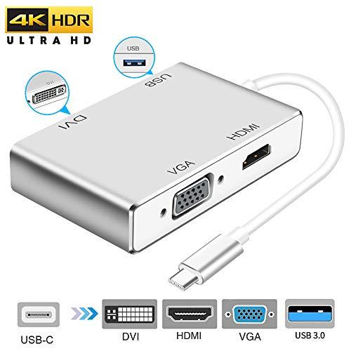 Adattatore da USB C a HDMI 4K,Weton 4-in-1 USB 3.1 Tipo C a HDMI VGA DVI USB 3.0 (Compatibile Thunderbolt 3) Multiporta Adattatore USB C HUB per MacBook Pro / Chromebook Pixel / Samsung S8 / S8 Plus