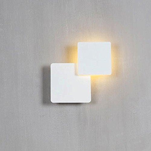 Schwarzes Quadrat Post (Nordic einfache Eisen LED Wandleuchte Kreative Quadrat Vielzahl Rotierende Flurbeleuchtung Post-moderne Art Nachttischlampe Seitenlänge 12.5cm (Zukunft weiß))