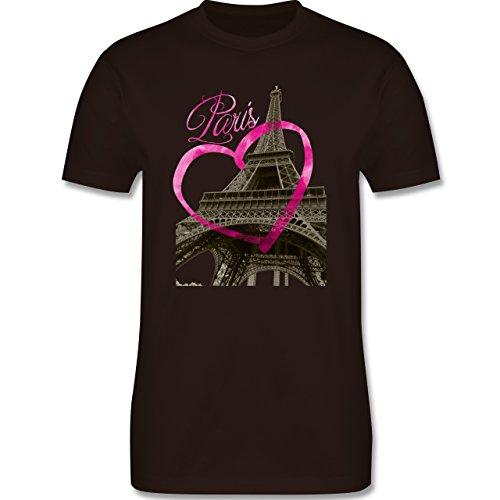 Städte - I love Paris - Herren Premium T-Shirt Braun