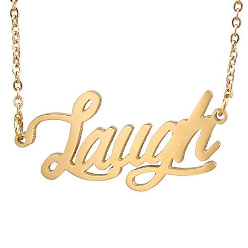 AOLOSHOW - Collana con nome, collezione Best Friends, motivo: amicizia, acciaio inossidabile, colore: Laugh Gold, cod. WNL-2440 Laugh Gold
