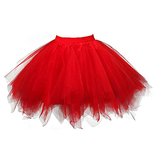 en Tüllrock Mädchen Ballet Tutu Rock Kinder Petticoat Unterrock Ballett Kostüm Tüll Röcke Festliche Tütüs Erwachsene Pettiskirt Ballerina Petticoat Für Dirndl (heiß rosa, XL) ()