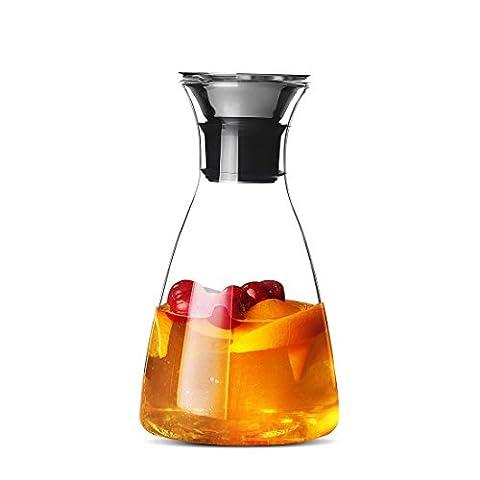 Qileyin Pichet Eau de 1000ml, EN VERRE Carafe d'eau en acier inoxydable avec couvercle en verre borosilicate Thé glacé Pitcher, Gybl070