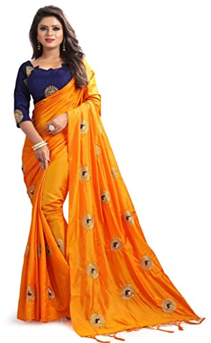 Flowers Fashion Women Party Wear Paper Silk Embroidered Saree with blouse piece