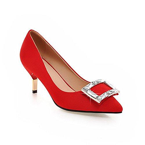 Vermelhos Vidro Sapatos Fosco Puxar Inserido Bulbo Médio Apontado Senhoras Salto Dedo Bombas Allhqfashion De ZCwnxq4qOI
