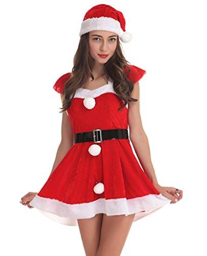 (Anguang Damen Weihnachten Sankt Claus Kostüm Anzug Cosplay Schick Kleid Kostüm mit Gürtel)