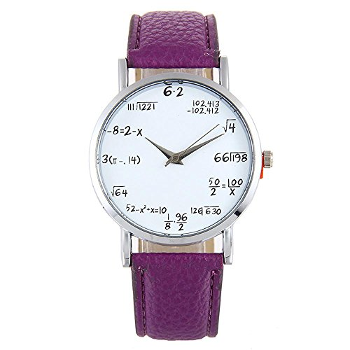 Reloj pulsera mujeres, KanLin1986 fórmula matemática patrón reloj de pulsera divertido, reloj de pulsera de cuero banda de aleación para las mujeres (B)