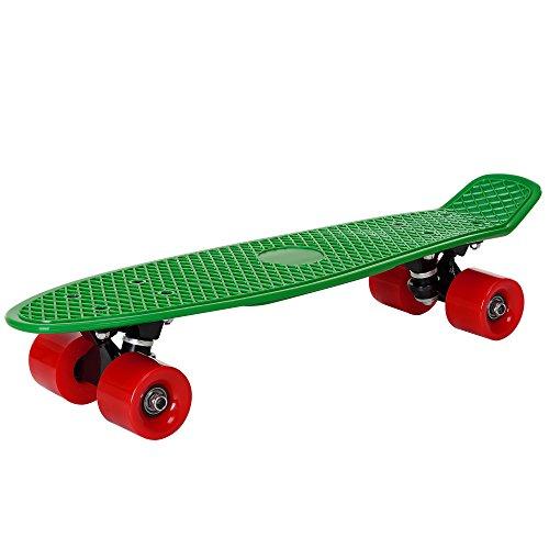 [pro.tec] Patineta Retro - Skateboard / Mini Cruiser - verde - rojo - (57cm)