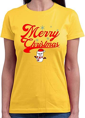 HARIZ  Damen T-Shirt Rundhals Weihnachten Merry Christmas Stadt Weihnachten Weihnachts Schnee Tannenbaum Plus Geschenkkarten Gold Gelb S (Party-stadt Kostüm Elf)