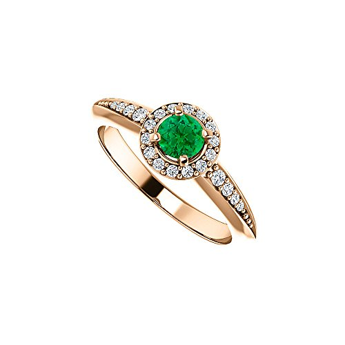 Brilliant Cut Emerald CZ Halo Ring in 14K Rose Gold