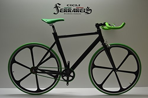 Cicli Ferrareis Fixed Bike Single Speed Bici Scatto Fisso a Razze Nera e Verde Personalizzabile