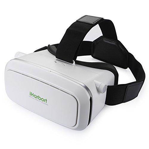 iHarbort ® Google Cardboard Universalle 3D VR Brillen Virtuelle Realität Kopfhörer VR Gläser virtual reality headset für 4.0-6.0 Zoll Smartphones (iPhone 6 6 Plus, Samsung Galaxy S6 usw..) - Weiß