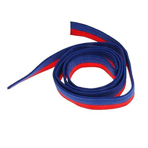 8 Couleurs Ceinture Taekwondo Arts Martiaux en Polyester-Coton Surpiquée Multiples Rangées Couture Super Epaisse Robuste - Bleu + Rouge, 220cm