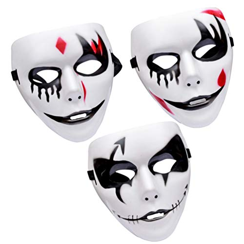 VOSAREA 3 stücke Halloween Maske schreckliche Gesichtsmaske Joker Maske Clown Maske für Halloween Maskerade kostüm - Schreckliche Clown Kostüm