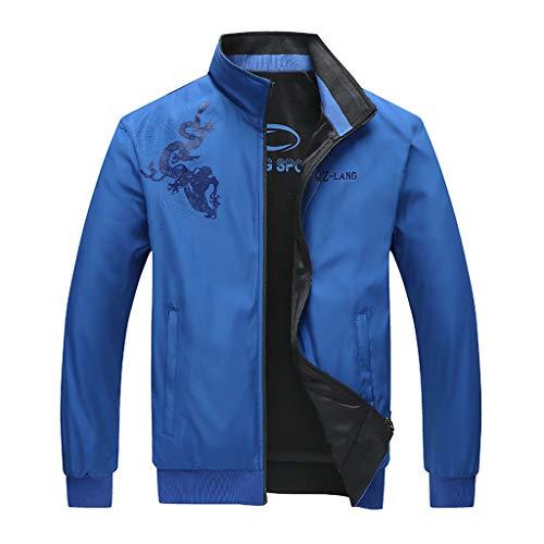 Setsail Herren Herbst Casual Mode Printing zweiseitige Abnutzung Jacke Reißverschluss Outwear Coat Bequemes Top -