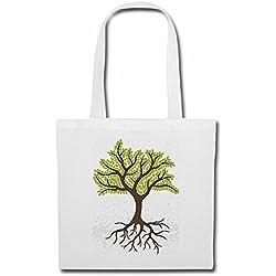 Tasche Umhängetasche DER Baum des Lebens MIT Wurzeln LAUBBAUM Herbst Vier Jahreszeiten Regen SPRÜHREGEN DAUERREGEN Einkaufstasche Schulbeutel Turnbeutel in Weiß