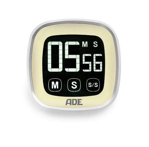Digitaler Küchentimer TD 1301. Elektronischer Kurzzeitmesser im Retro-Look mit Stoppuhr, LCD Touch-Display, großen weißen Matrix-Ziffern und Magnet-Aufhängung. Eieruhr. Farbe: Vanille