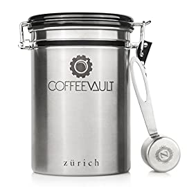 Coffee Vault Premium Coffee Canister Airtight | Large Stainless Steel Coffee Container by Zurich for 500g Coffee Storage with Measure Scoop | Roasted Coffee Beans and Ground Coffee Freshness Protected