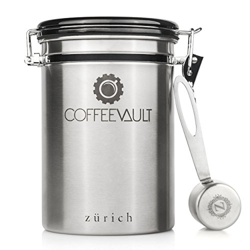 Coffee Vault Premium Coffee Canister Airtight – Large Stainless Steel Coffee Container by Zurich for 500g Coffee Storage with Measure Scoop. Roasted Coffee Beans and Ground Coffee Freshness Protected. 41OIyexPyJL