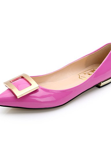 PDX/Damen Schuhe Patent Leder flach Ferse Komfort/spitz/geschlossen Zehen Wohnungen Kleid/Casual Schwarz/Rot/Beige, - fuchsia-us9 / eu40 / uk7 / cn41 - Größe: One Size Fuchsia Patent Schuhe