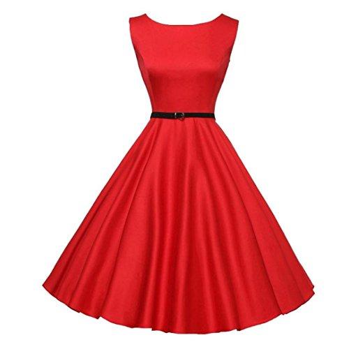 Ihr Rotes Kleid (Damen Vintage 50er Ärmellos Rockabilly Swing Kleider Retro Hepburn Kleid Schwingen Pinup Rockabilly Kleid Btruely (M, Rot))